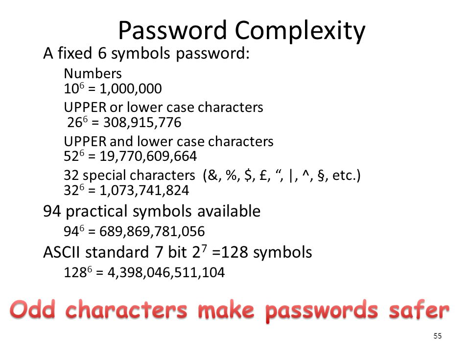 Password Complexity A fixed 6 symbols password: – Numbers 10 6 = 1,000,000 – UPPER or lower case characters 26 6 = 308,915,776 – UPPER and lower case characters 52 6 = 19,770,609,664 – 32 special characters (&, %, $, £,, |, ^, §, etc.) 32 6 = 1,073,741,824 94 practical symbols available – 94 6 = 689,869,781,056 ASCII standard 7 bit 2 7 =128 symbols – 128 6 = 4,398,046,511,104 55