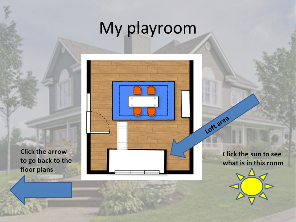 My playroom Click the arrow to go back to the floor plans Click the sun to see what is in this room Loft area