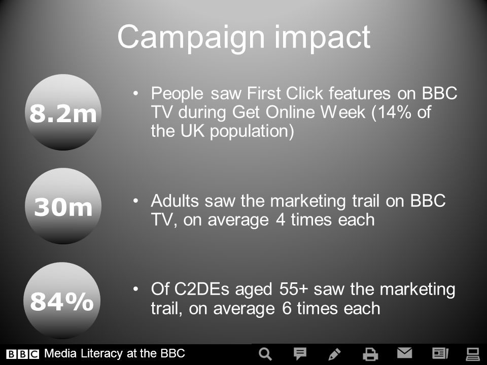 Campaign impact People saw First Click features on BBC TV during Get Online Week (14% of the UK population) Adults saw the marketing trail on BBC TV, on average 4 times each Of C2DEs aged 55+ saw the marketing trail, on average 6 times each Media Literacy at the BBC 8.2m 30m 84%