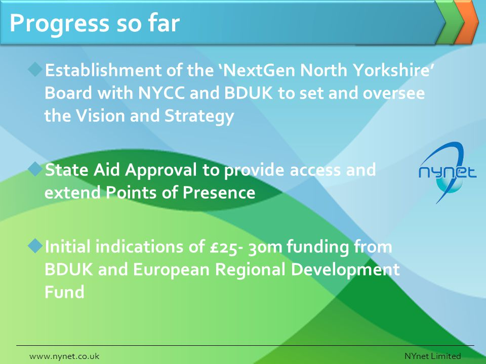 Progress so far Establishment of the NextGen North Yorkshire Board with NYCC and BDUK to set and oversee the Vision and Strategy State Aid Approval to provide access and extend Points of Presence Initial indications of £25- 30m funding from BDUK and European Regional Development Fund www.nynet.co.ukNYnet Limited