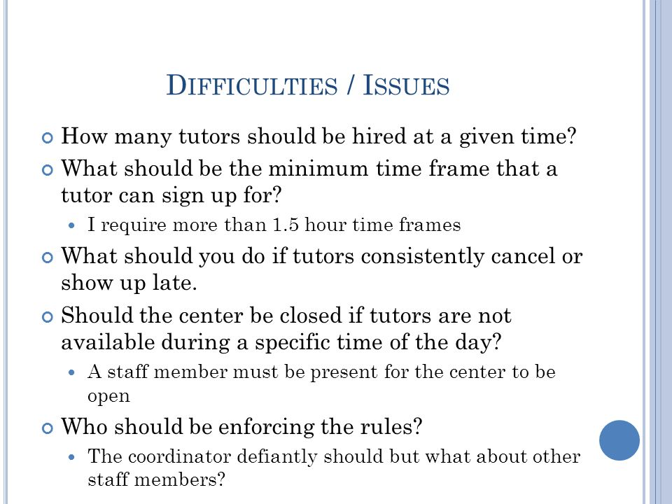 D IFFICULTIES / I SSUES How many tutors should be hired at a given time.