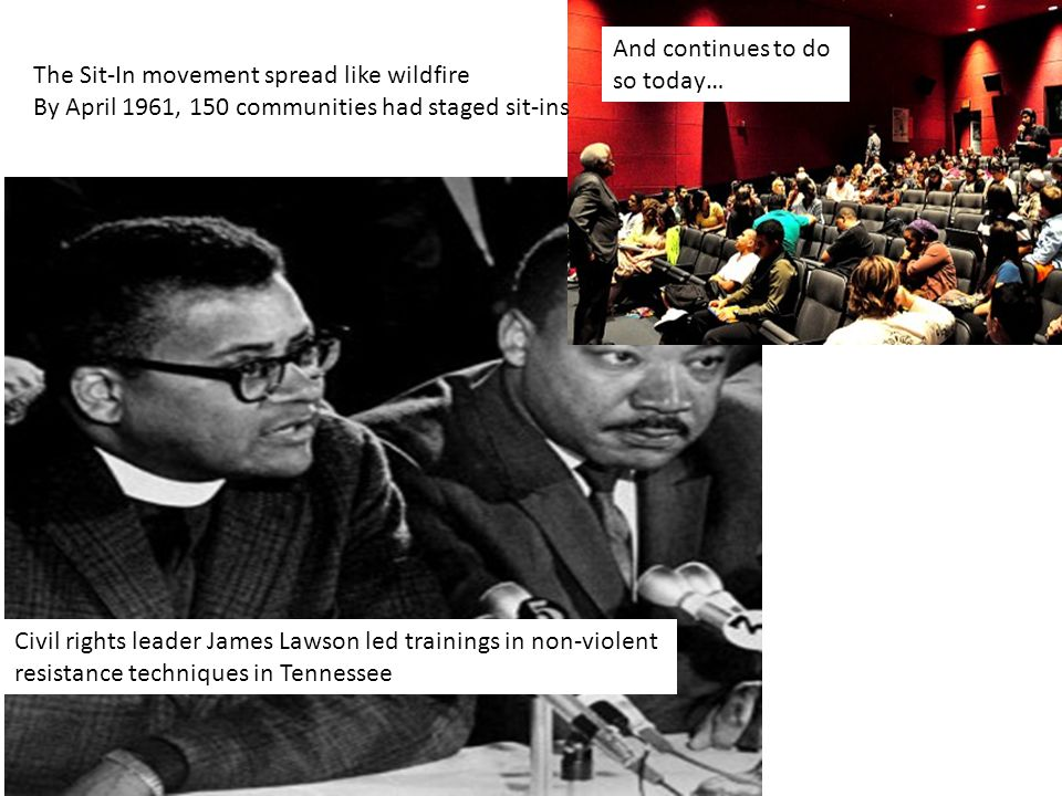 Civil rights leader James Lawson led trainings in non-violent resistance techniques in Tennessee The Sit-In movement spread like wildfire By April 1961, 150 communities had staged sit-ins And continues to do so today…