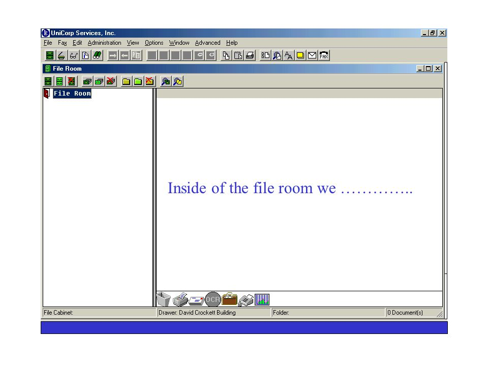 UniCorp Services Electronic File Room To set up a file room we click our file cabinet icon