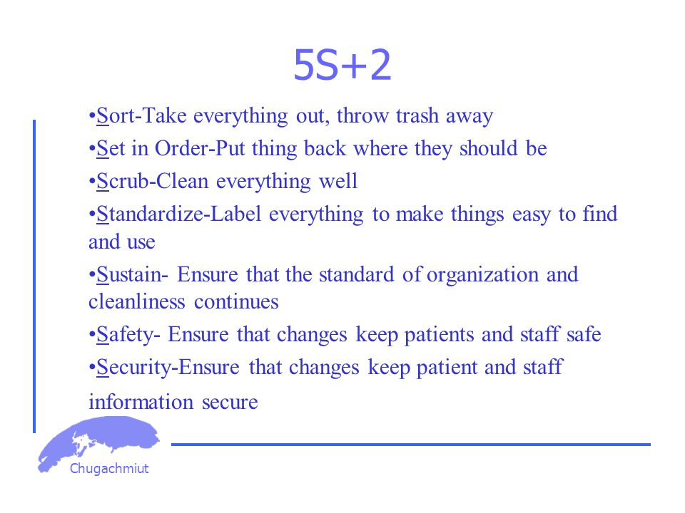 Chugachmiut 5S+2 Sort-Take everything out, throw trash away Set in Order-Put thing back where they should be Scrub-Clean everything well Standardize-Label everything to make things easy to find and use Sustain- Ensure that the standard of organization and cleanliness continues Safety- Ensure that changes keep patients and staff safe Security-Ensure that changes keep patient and staff information secure