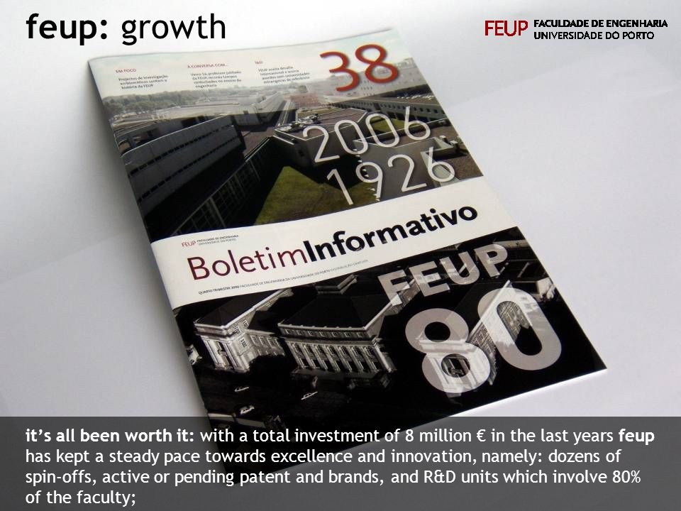 feup: growth its all been worth it: with a total investment of 8 million in the last years feup has kept a steady pace towards excellence and innovation, namely: dozens of spin-offs, active or pending patent and brands, and R&D units which involve 80% of the faculty;