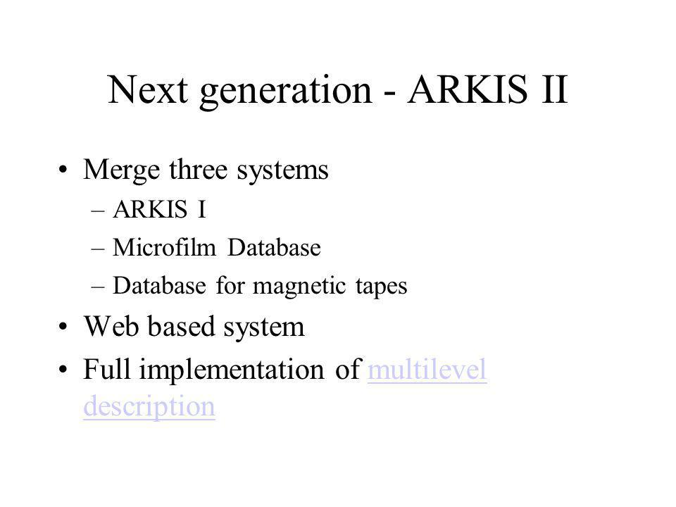Next generation - ARKIS II Merge three systems –ARKIS I –Microfilm Database –Database for magnetic tapes Web based system Full implementation of multilevel descriptionmultilevel description