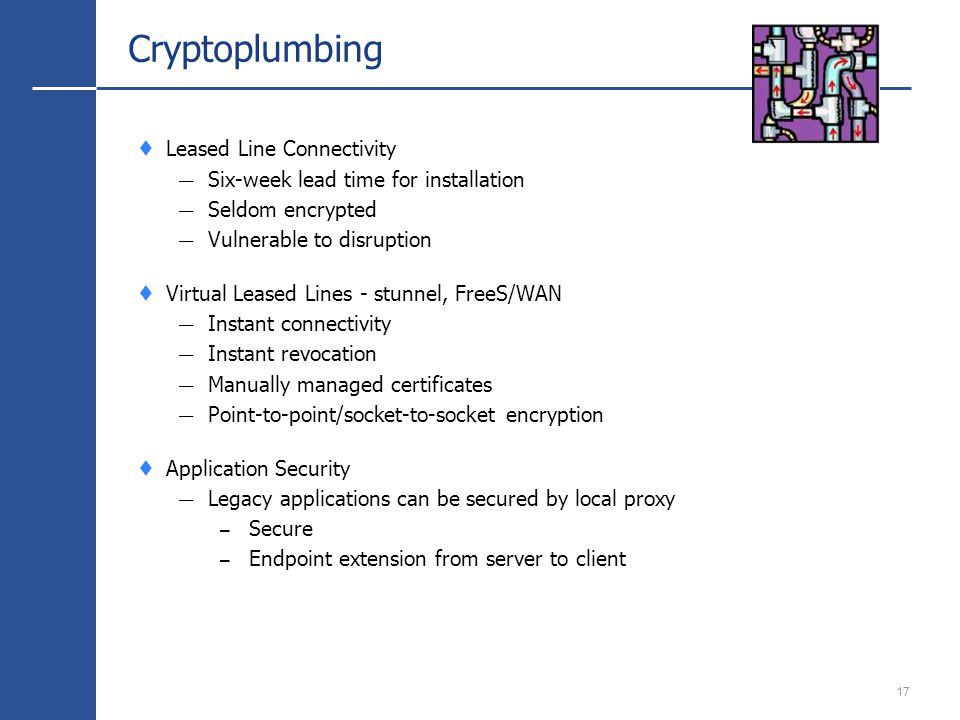17 Cryptoplumbing Leased Line Connectivity Six-week lead time for installation Seldom encrypted Vulnerable to disruption Virtual Leased Lines - stunnel, FreeS/WAN Instant connectivity Instant revocation Manually managed certificates Point-to-point/socket-to-socket encryption Application Security Legacy applications can be secured by local proxy – Secure – Endpoint extension from server to client
