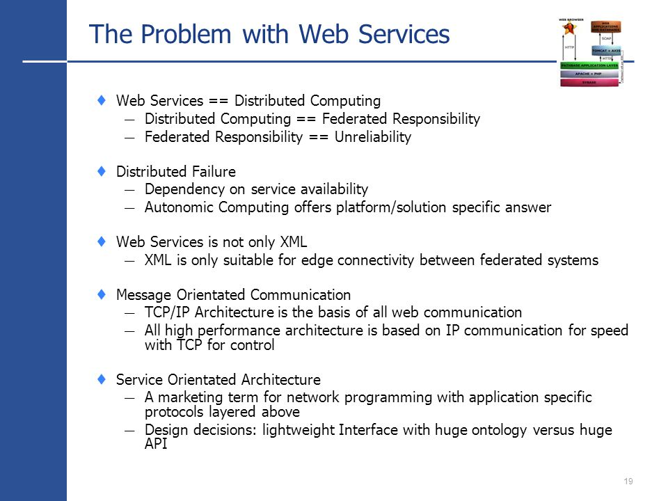 19 The Problem with Web Services Web Services == Distributed Computing Distributed Computing == Federated Responsibility Federated Responsibility == Unreliability Distributed Failure Dependency on service availability Autonomic Computing offers platform/solution specific answer Web Services is not only XML XML is only suitable for edge connectivity between federated systems Message Orientated Communication TCP/IP Architecture is the basis of all web communication All high performance architecture is based on IP communication for speed with TCP for control Service Orientated Architecture A marketing term for network programming with application specific protocols layered above Design decisions: lightweight Interface with huge ontology versus huge API