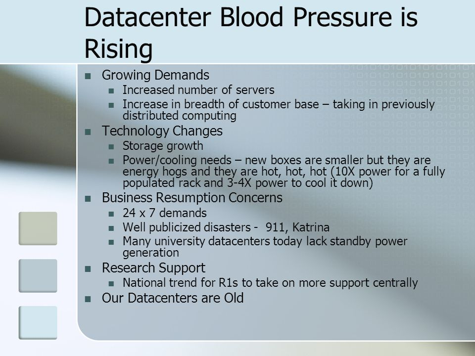 Datacenter Blood Pressure is Rising Growing Demands Increased number of servers Increase in breadth of customer base – taking in previously distributed computing Technology Changes Storage growth Power/cooling needs – new boxes are smaller but they are energy hogs and they are hot, hot, hot (10X power for a fully populated rack and 3-4X power to cool it down) Business Resumption Concerns 24 x 7 demands Well publicized disasters - 911, Katrina Many university datacenters today lack standby power generation Research Support National trend for R1s to take on more support centrally Our Datacenters are Old