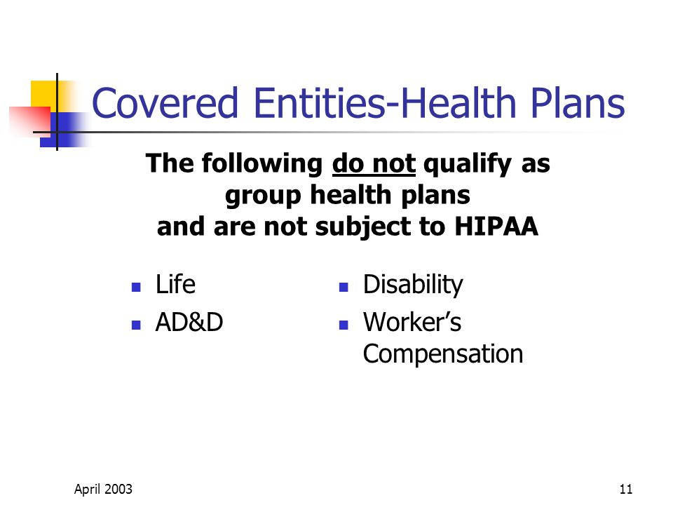 April 200311 Covered Entities-Health Plans Life AD&D Disability Workers Compensation The following do not qualify as group health plans and are not subject to HIPAA