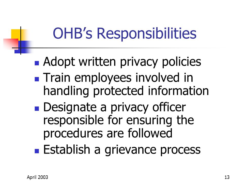 April 200313 OHBs Responsibilities Adopt written privacy policies Train employees involved in handling protected information Designate a privacy officer responsible for ensuring the procedures are followed Establish a grievance process