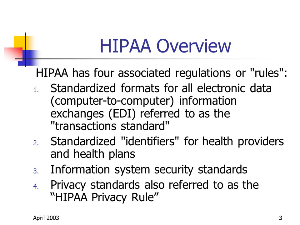 April 20033 HIPAA Overview HIPAA has four associated regulations or rules : 1.