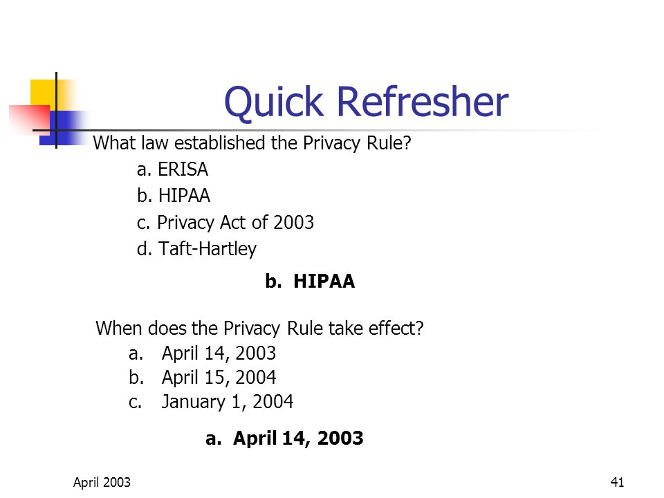 April 200341 Quick Refresher What law established the Privacy Rule.