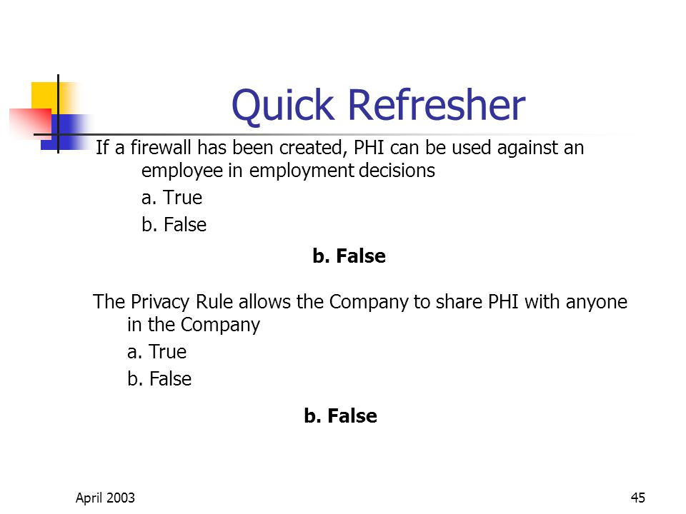 April 200345 Quick Refresher If a firewall has been created, PHI can be used against an employee in employment decisions a.
