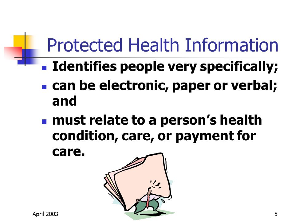 April 20035 Protected Health Information Identifies people very specifically; can be electronic, paper or verbal; and must relate to a persons health condition, care, or payment for care.