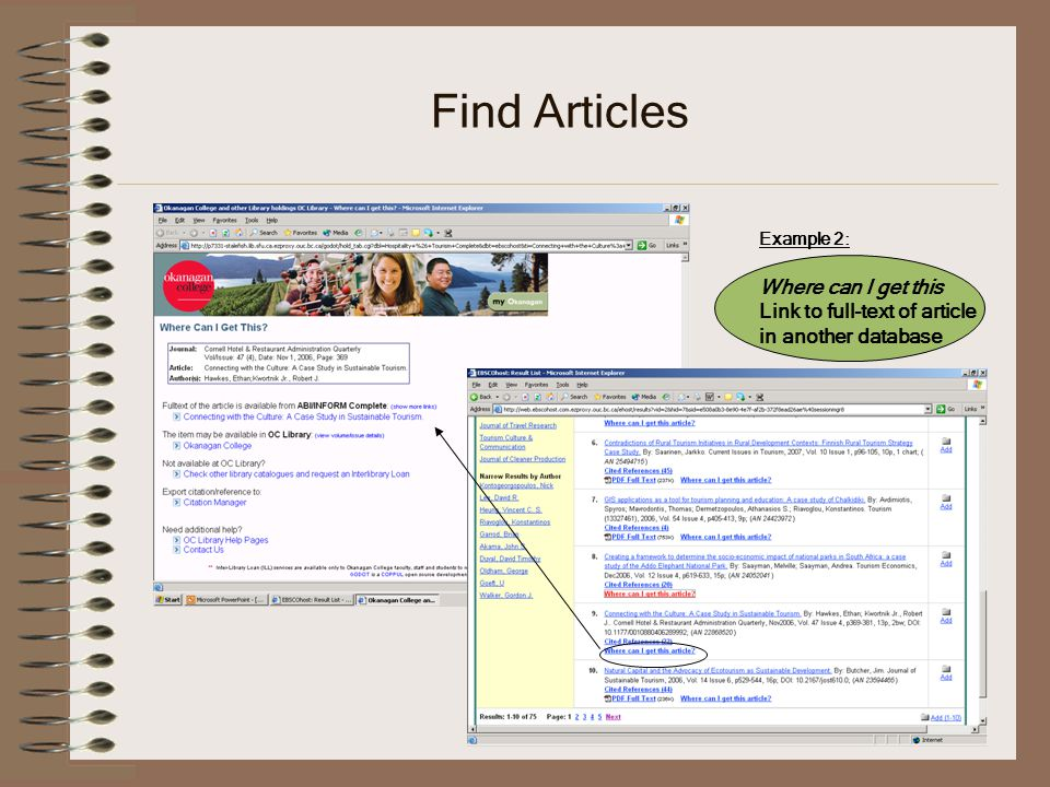 Find Articles Example 2: Where can I get this Link to full-text of article in another database