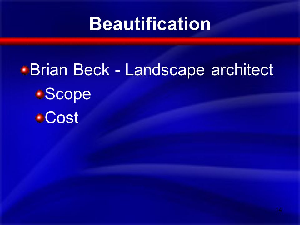 Beautification 14 Brian Beck - Landscape architect Scope Cost