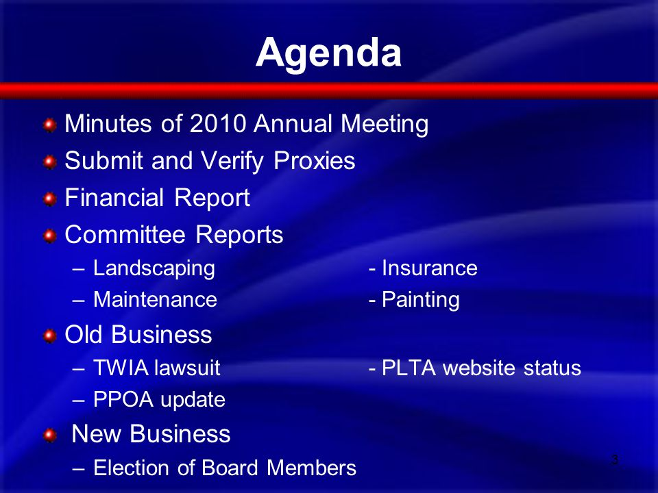 Agenda Minutes of 2010 Annual Meeting Submit and Verify Proxies Financial Report Committee Reports –Landscaping- Insurance –Maintenance- Painting Old Business –TWIA lawsuit- PLTA website status –PPOA update New Business –Election of Board Members 3