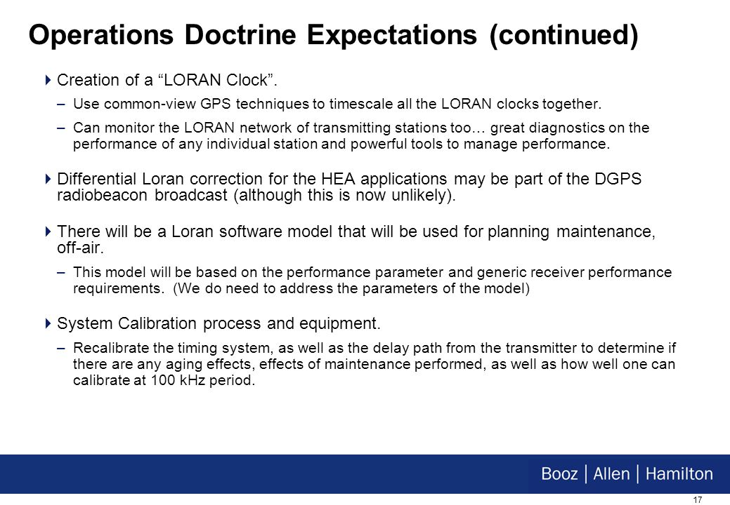 17 Operations Doctrine Expectations (continued) Creation of a LORAN Clock.