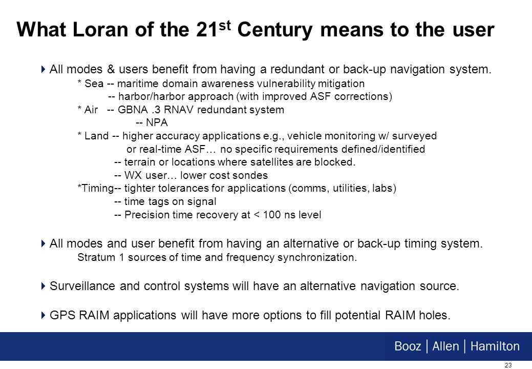 23 What Loran of the 21 st Century means to the user All modes & users benefit from having a redundant or back-up navigation system.