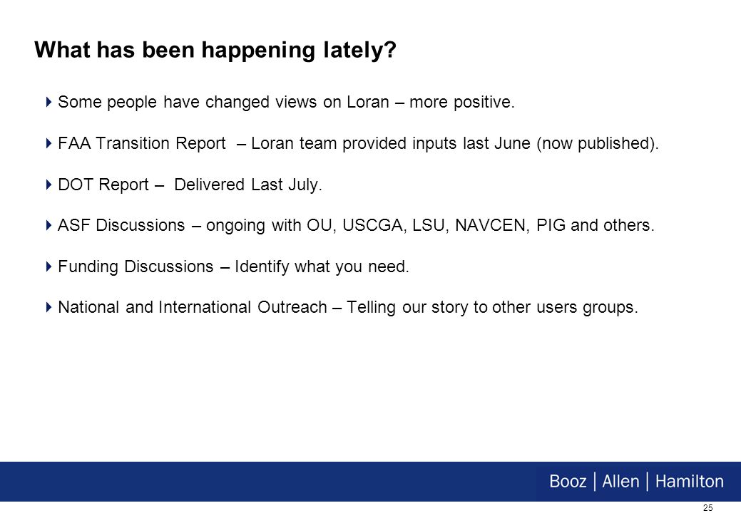 25 What has been happening lately. Some people have changed views on Loran – more positive.