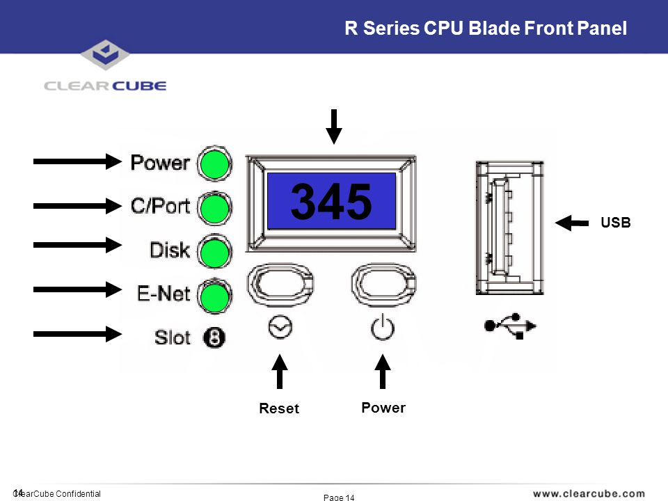 14 ClearCube Confidential Page 14 R Series CPU Blade Front Panel 345 Reset Power USB