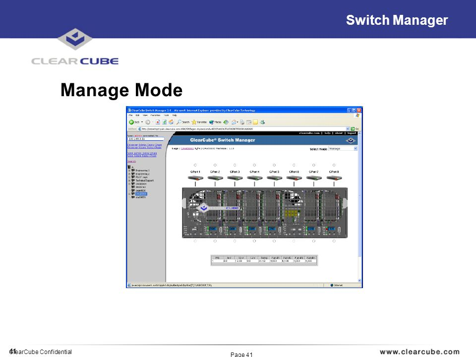 41 ClearCube Confidential Page 41 Switch Manager Manage Mode