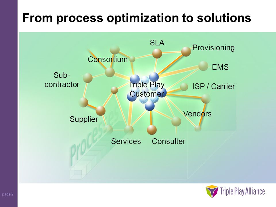 page 2 From process optimization to solutions Supplier Consulter Triple Play Customer EMS Sub- contractor Consortium Vendors Provisioning SLA Services ISP / Carrier