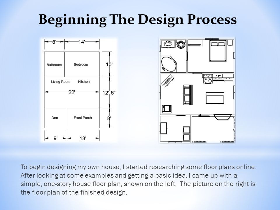 To begin designing my own house, I started researching some floor plans online.