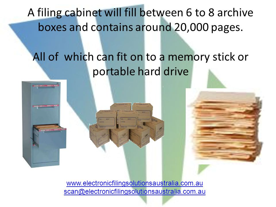 A filing cabinet will fill between 6 to 8 archive boxes and contains around 20,000 pages.