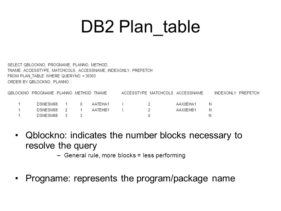DB2 Plan_table SELECT QBLOCKNO, PROGNAME, PLANNO, METHOD, TNAME, ACCESSTYPE, MATCHCOLS, ACCESSNAME, INDEXONLY, PREFETCH FROM PLAN_TABLE WHERE QUERYNO = 30303 ORDER BY QBLOCKNO, PLANNO ; QBLOCKNO PROGNAME PLANNO METHOD TNAME ACCESSTYPE MATCHCOLS ACCESSNAME INDEXONLY PREFETCH 1 DSNESM68 1 0 AATEHA1 I 2 AAX0EHA1 N 1 DSNESM68 2 1 AATEHB1 I 2 AAX0EHB1 N 1 DSNESM68 3 3 0 N Qblockno: indicates the number blocks necessary to resolve the query –General rule, more blocks = less performing Progname: represents the program/package name