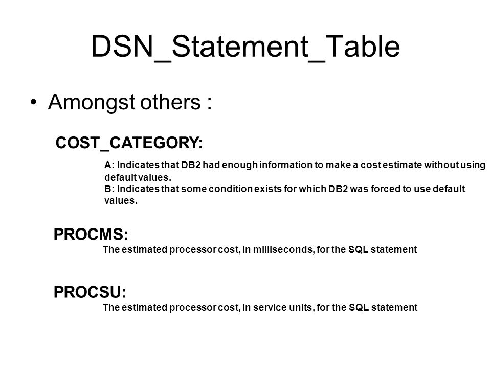 DSN_Statement_Table Amongst others : COST_CATEGORY: A: Indicates that DB2 had enough information to make a cost estimate without using default values.