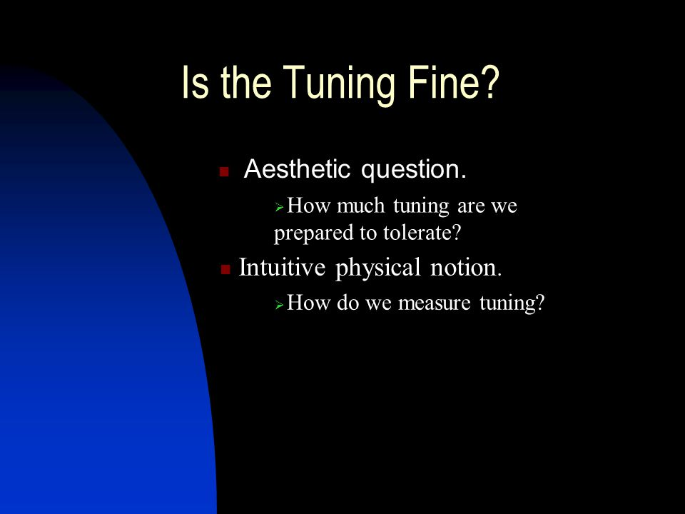 Is the Tuning Fine. Aesthetic question. How much tuning are we prepared to tolerate.