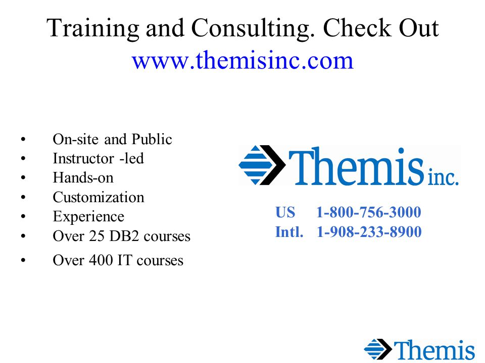 Training and Consulting.