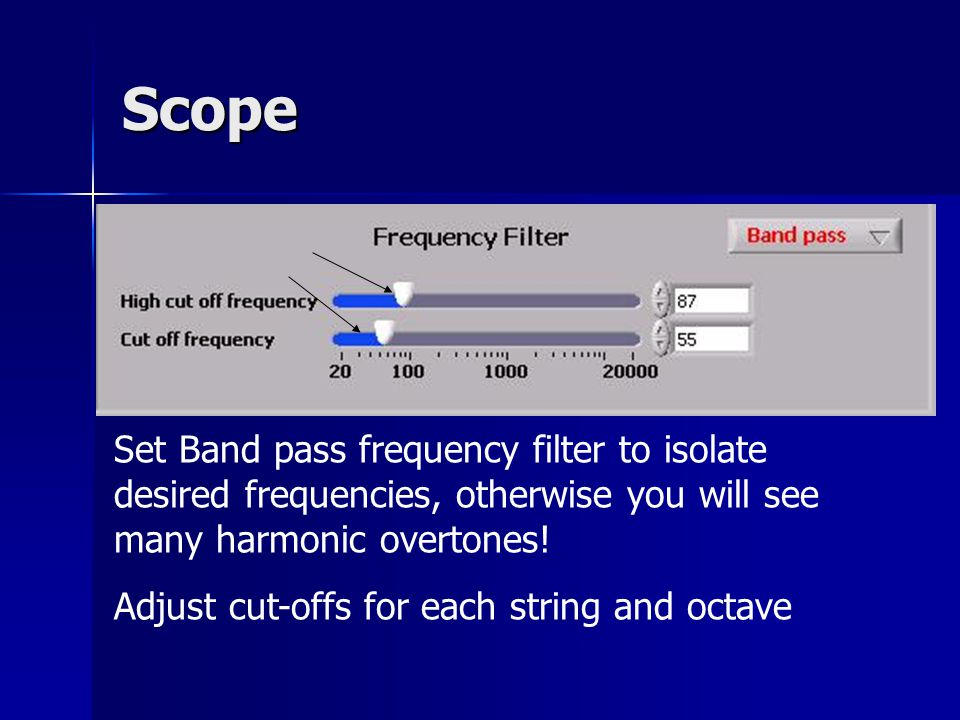 Scope Set Band pass frequency filter to isolate desired frequencies, otherwise you will see many harmonic overtones.