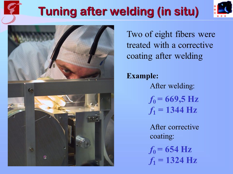 After welding: f 0 = 669,5 Hz f 1 = 1344 Hz After corrective coating: f 0 = 654 Hz f 1 = 1324 Hz Two of eight fibers were treated with a corrective coating after welding Example: