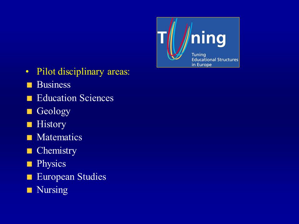 Pilot disciplinary areas: Business Education Sciences Geology History Matematics Chemistry Physics European Studies Nursing