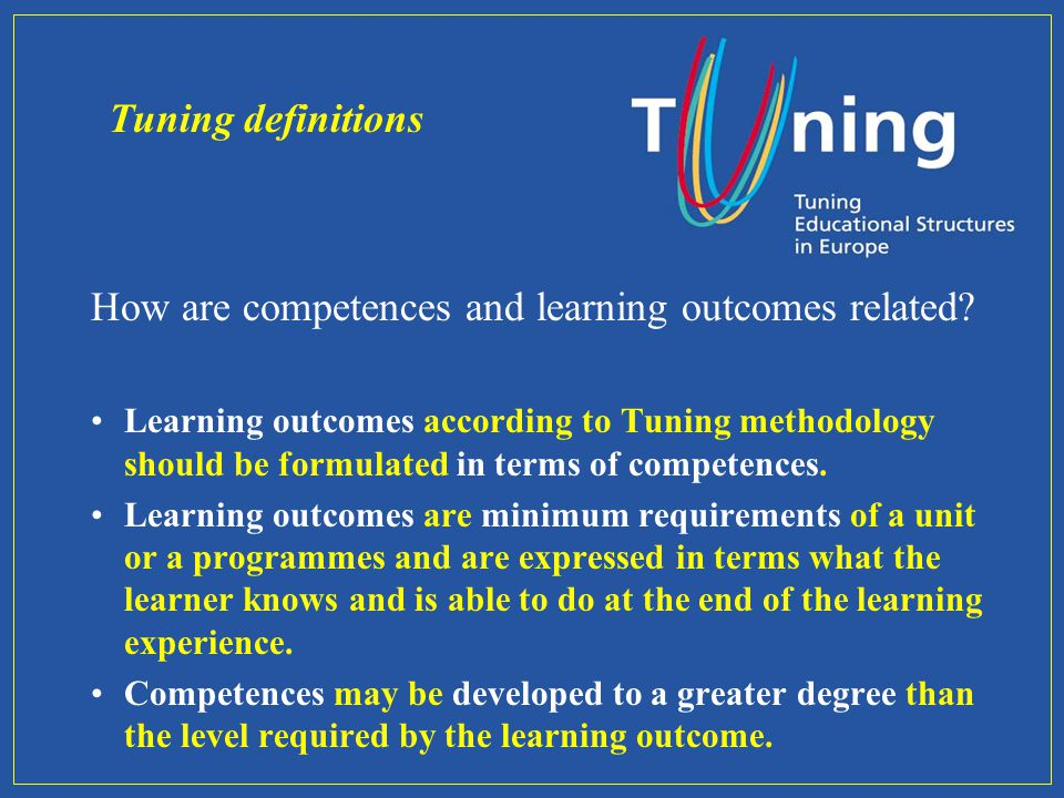 How are competences and learning outcomes related.