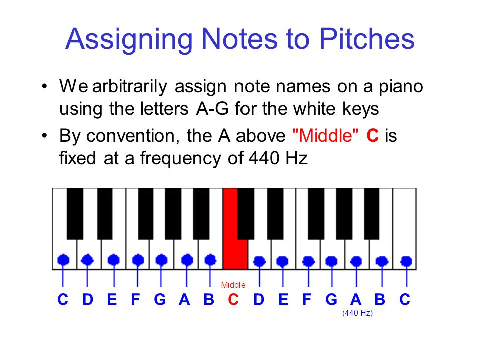 Assigning Notes to Pitches We arbitrarily assign note names on a piano using the letters A-G for the white keys By convention, the A above Middle C is fixed at a frequency of 440 Hz C D E F G A B C D E F G A B C Middle (440 Hz)