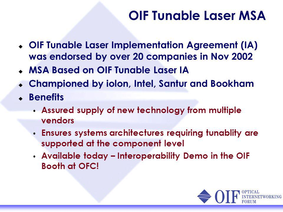 OIF Tunable Laser MSA OIF Tunable Laser Implementation Agreement (IA) was endorsed by over 20 companies in Nov 2002 MSA Based on OIF Tunable Laser IA Championed by iolon, Intel, Santur and Bookham Benefits Assured supply of new technology from multiple vendors Ensures systems architectures requiring tunablity are supported at the component level Available today – Interoperability Demo in the OIF Booth at OFC!