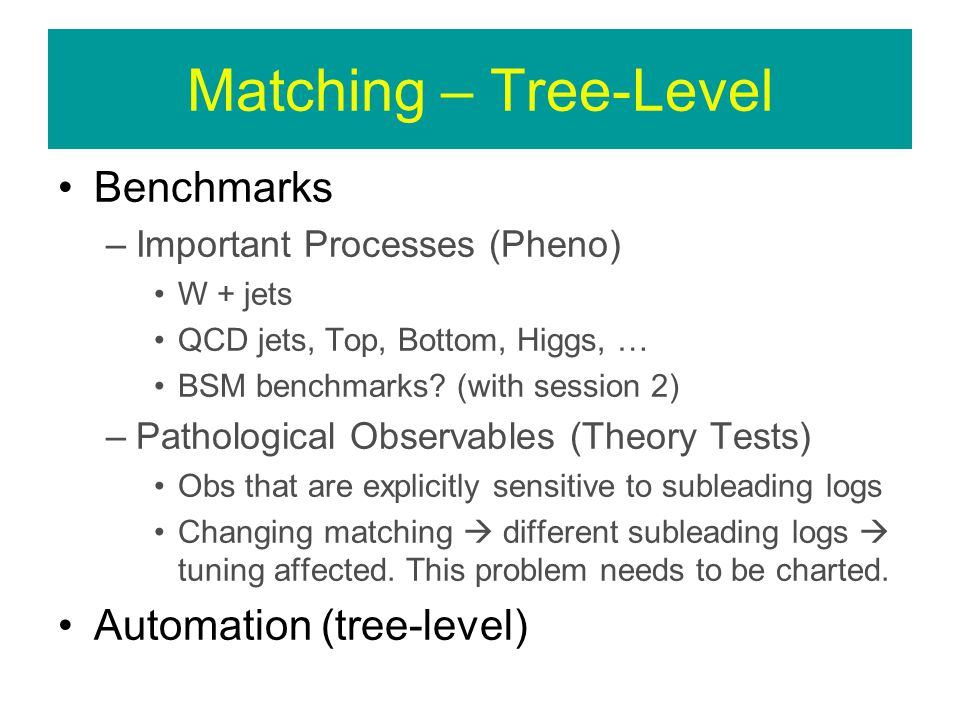 Matching – Tree-Level Benchmarks –Important Processes (Pheno) W + jets QCD jets, Top, Bottom, Higgs, … BSM benchmarks.