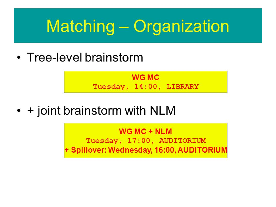 Matching – Organization Tree-level brainstorm + joint brainstorm with NLM WG MC Tuesday, 14:00, LIBRARY WG MC + NLM Tuesday, 17:00, AUDITORIUM + Spillover: Wednesday, 16:00, AUDITORIUM