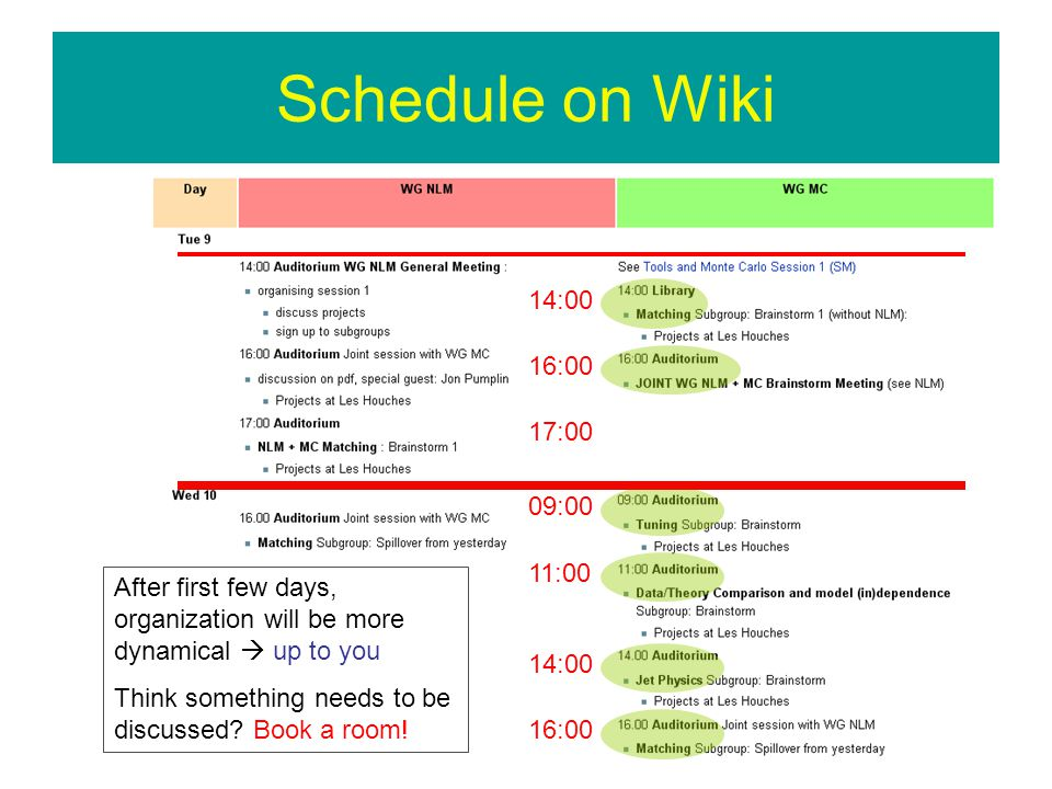 Schedule on Wiki 14:00 16:00 17:00 09:00 11:00 14:00 16:00 After first few days, organization will be more dynamical up to you Think something needs to be discussed.