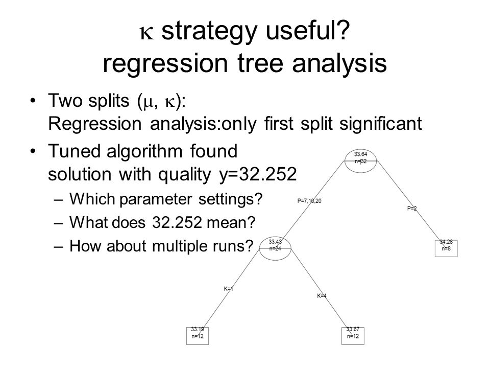 Two splits (, ): Regression analysis:only first split significant Tuned algorithm found solution with quality y=32.252 –Which parameter settings.