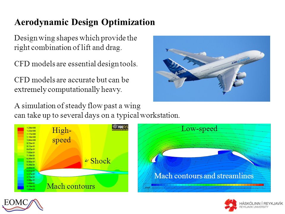 Aerodynamic Design Optimization Design wing shapes which provide the right combination of lift and drag.