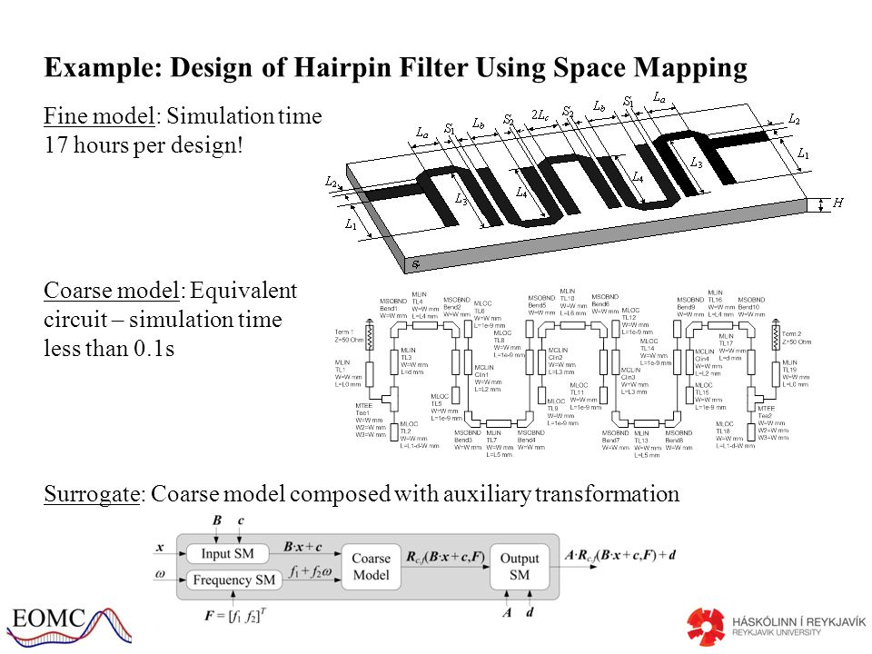 Example: Design of Hairpin Filter Using Space Mapping Fine model: Simulation time 17 hours per design.