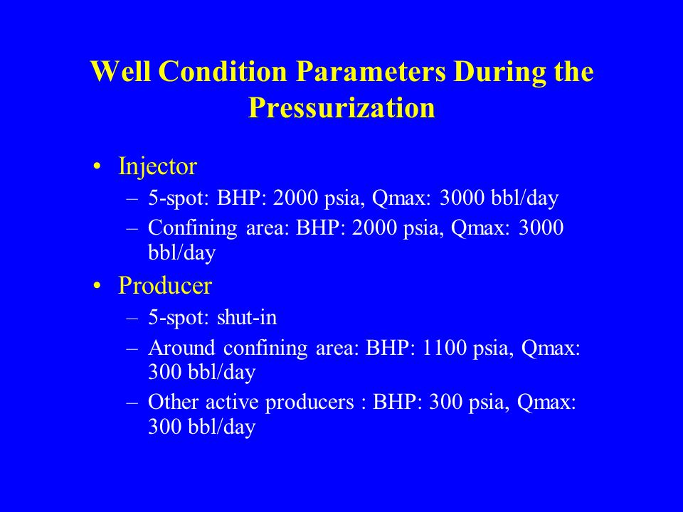 Well Condition Parameters During the Pressurization Injector –5-spot: BHP: 2000 psia, Qmax: 3000 bbl/day –Confining area: BHP: 2000 psia, Qmax: 3000 bbl/day Producer –5-spot: shut-in –Around confining area: BHP: 1100 psia, Qmax: 300 bbl/day –Other active producers : BHP: 300 psia, Qmax: 300 bbl/day