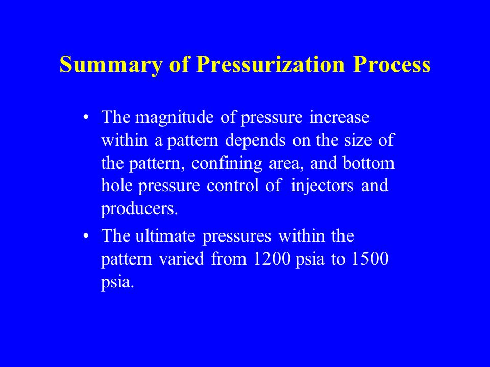 Summary of Pressurization Process The magnitude of pressure increase within a pattern depends on the size of the pattern, confining area, and bottom hole pressure control of injectors and producers.