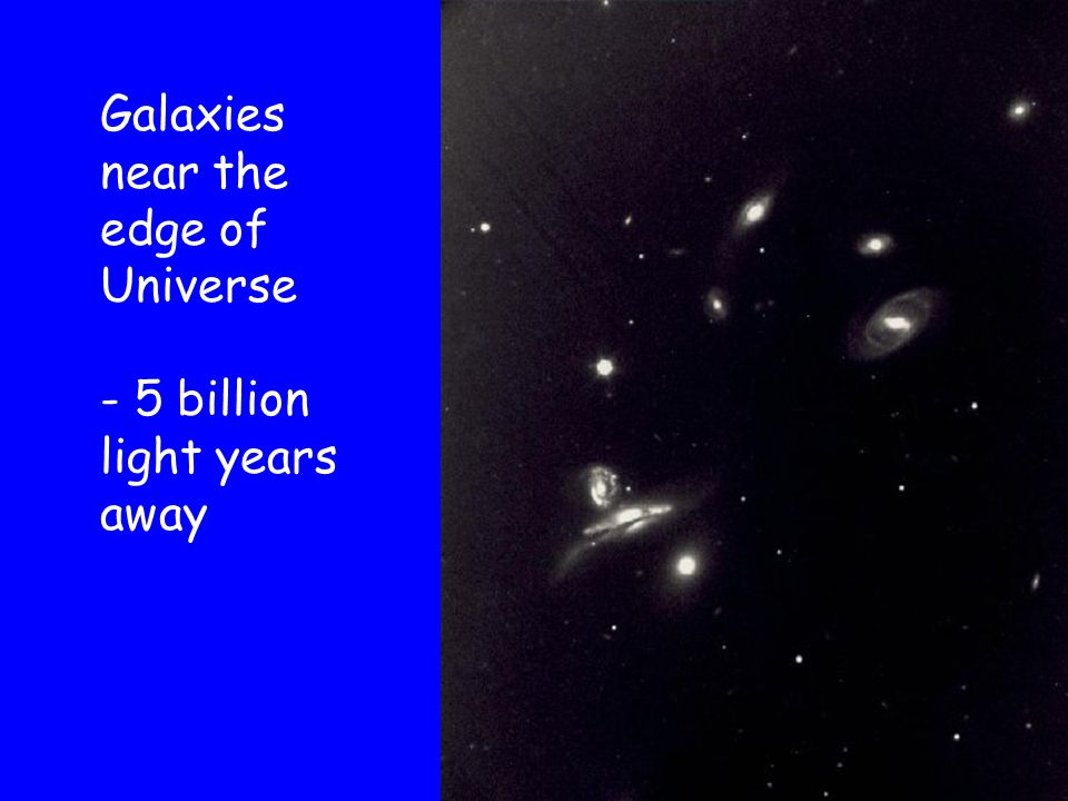 Galaxies near the edge of Universe - 5 billion light years away