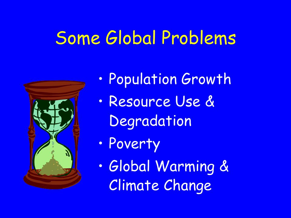 Some Global Problems Population Growth Resource Use & Degradation Poverty Global Warming & Climate Change
